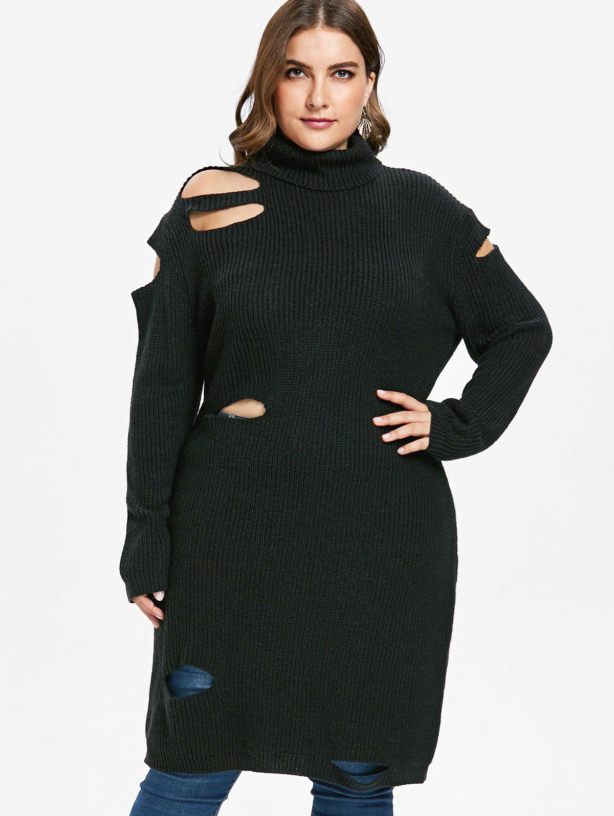 Shops Plus Size Cut Out Long Sweater