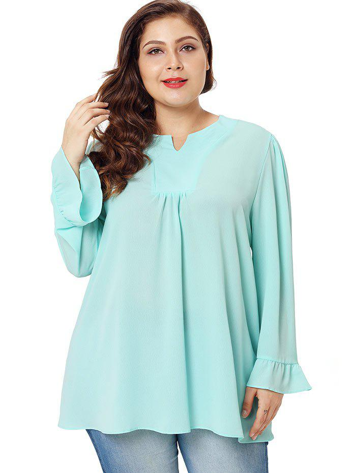 Outfit Plus Size Flare Sleeve V Neck Blouse