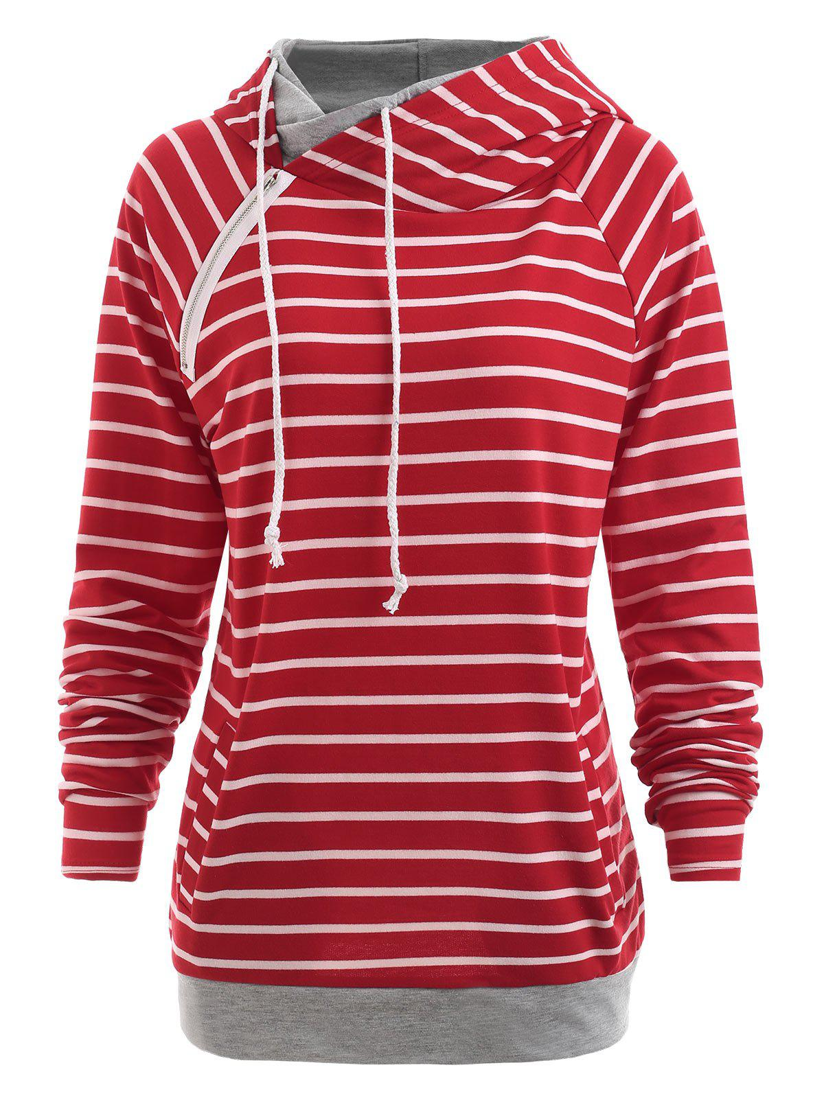 Chic Long Sleeve Drawstring Striped Hoodie