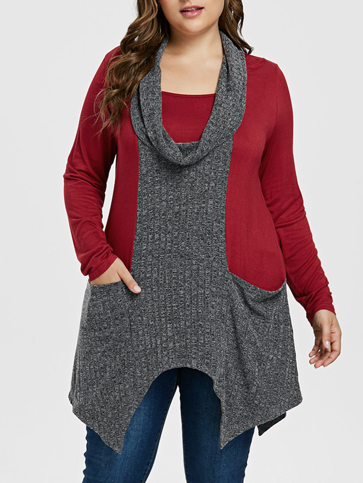 Fancy Plus Size Cowl Neck Handkerchief T-shirt