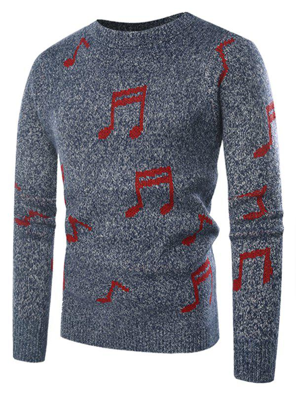 Store Musical Notation Pattern Knitted Sweater