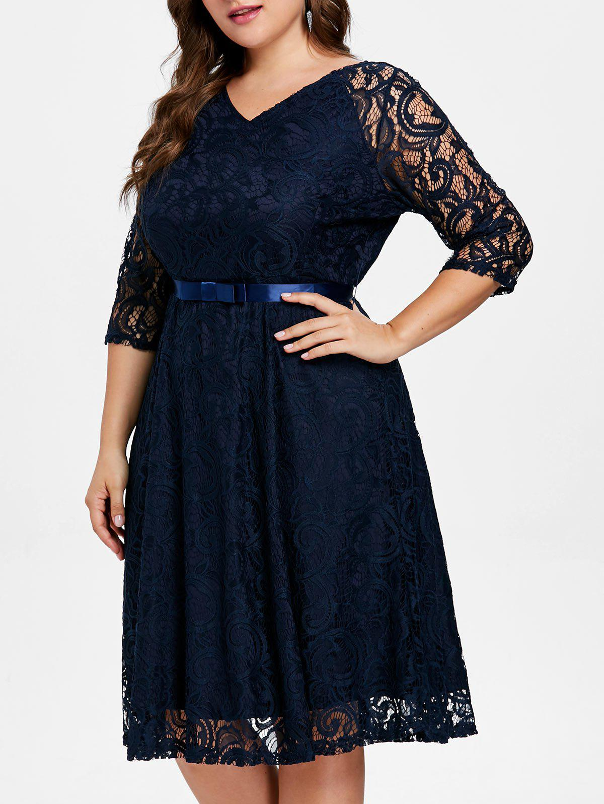 Online Plus Size Knee Length Lace Dress with Belt