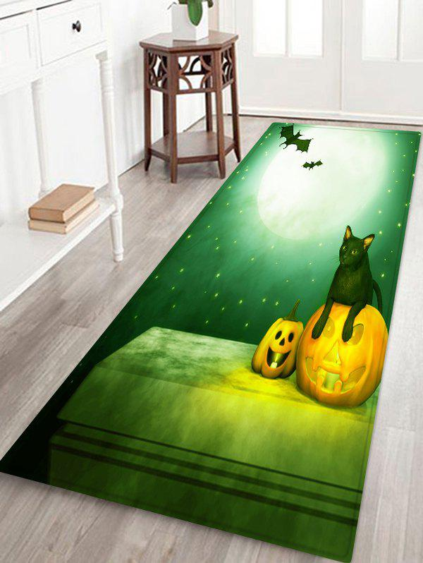 Online Halloween Moon Night Cat Pattern Water Absorption Area Rug