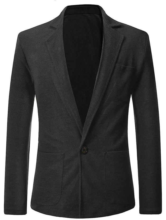 Fancy Solid Color Single Button Blazer Coat