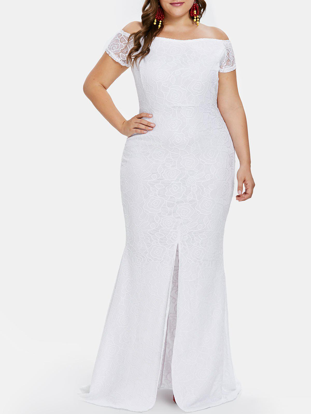 125c9c3a7129 2019 Plus Size OFF Shoulder Lace Maxi Dress
