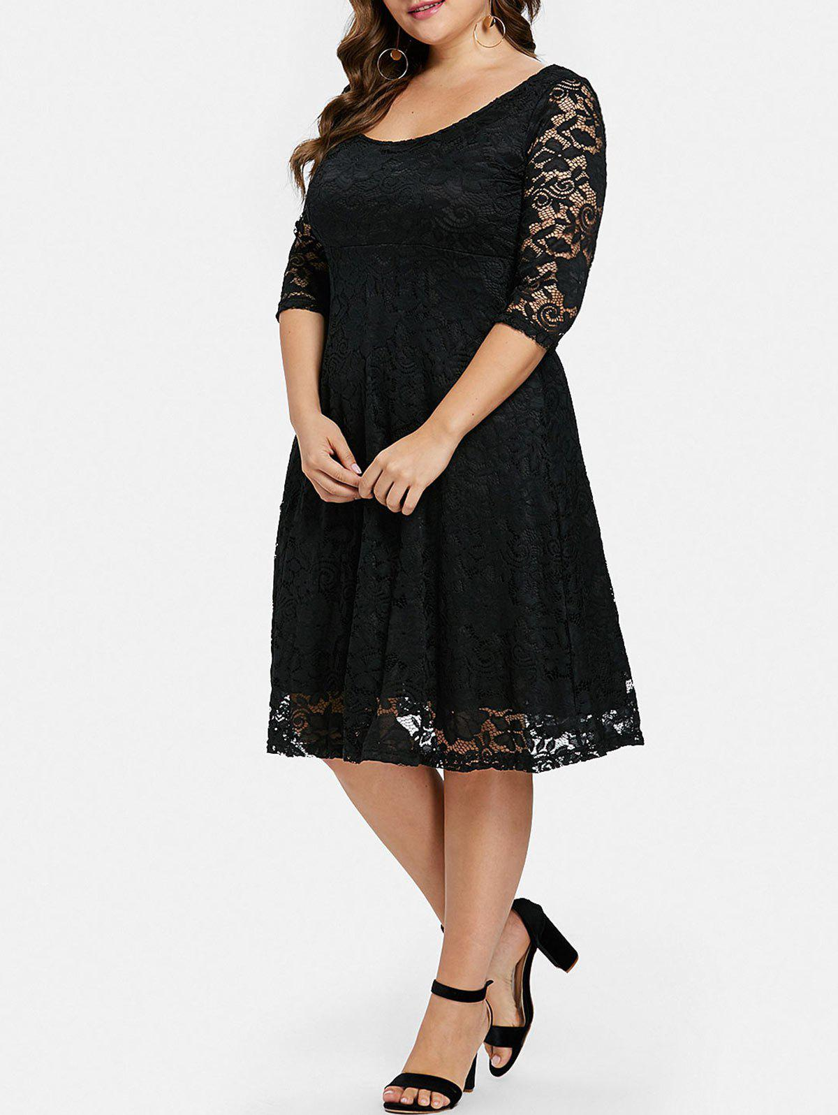New Plus Size Flared Lace Overlay Dress