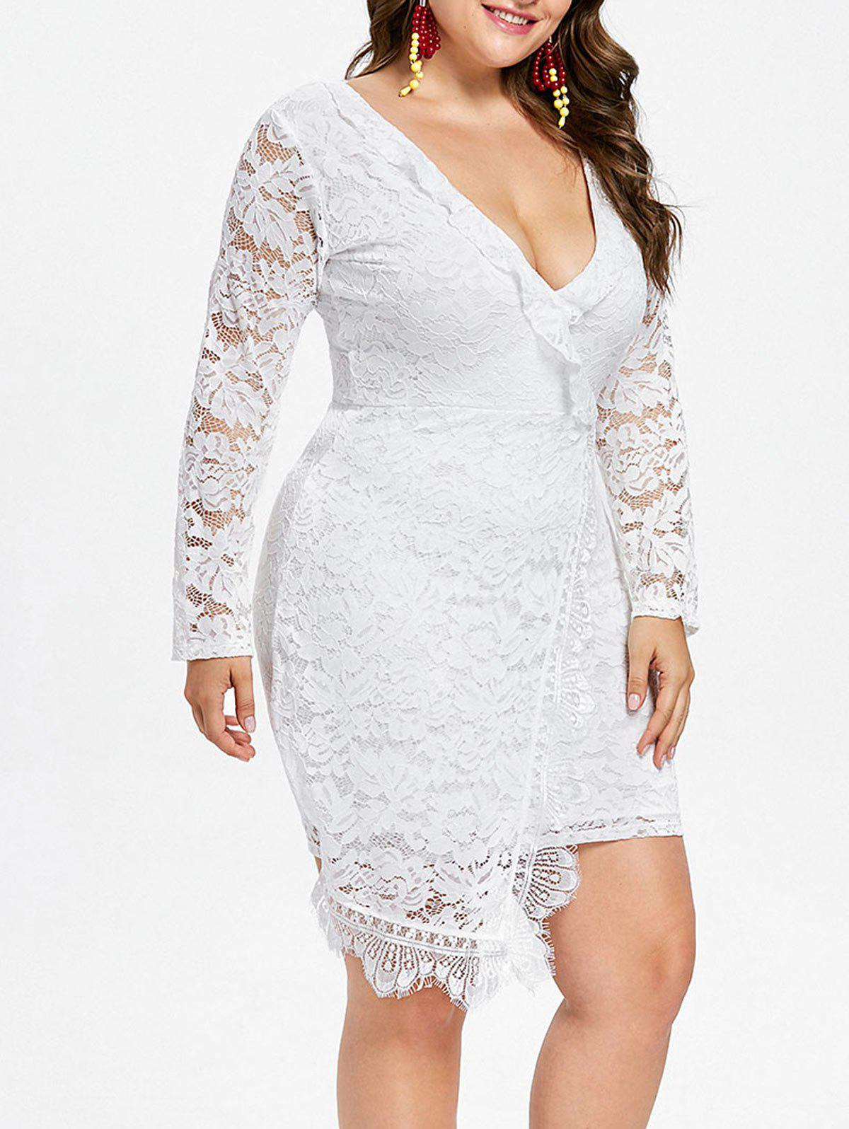 Unique Plus Size Plunging Neck Lace Dress