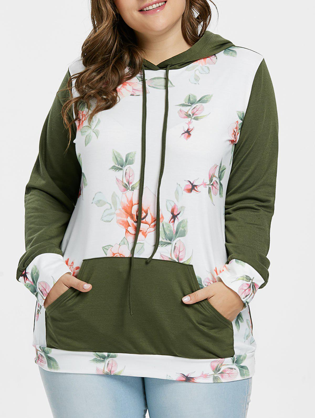 Unique Plus Size Kangaroo Pocket Floral Hoodie