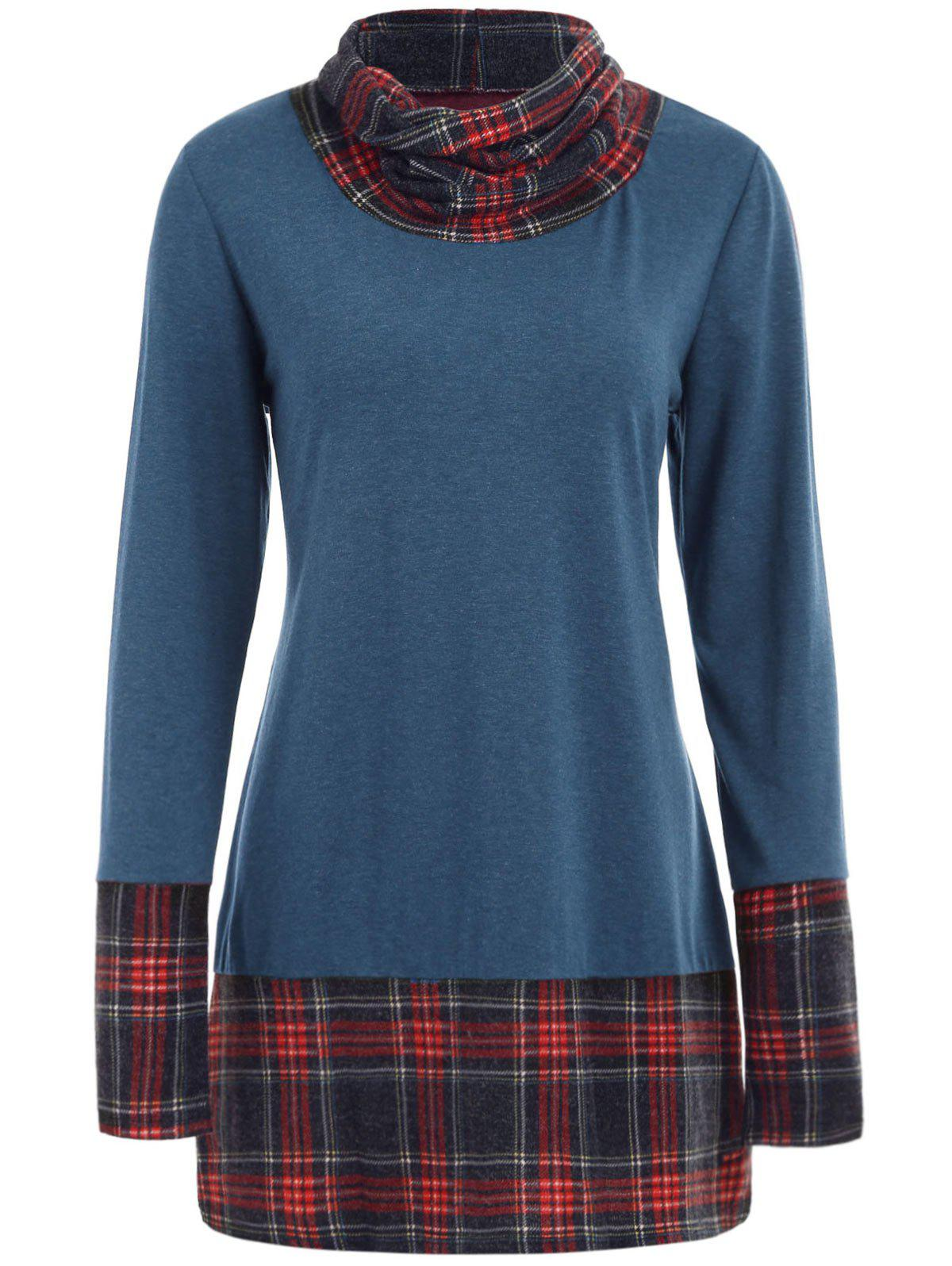 Latest Cowl Neck Plaid Detail Plus Size Sweatshirt