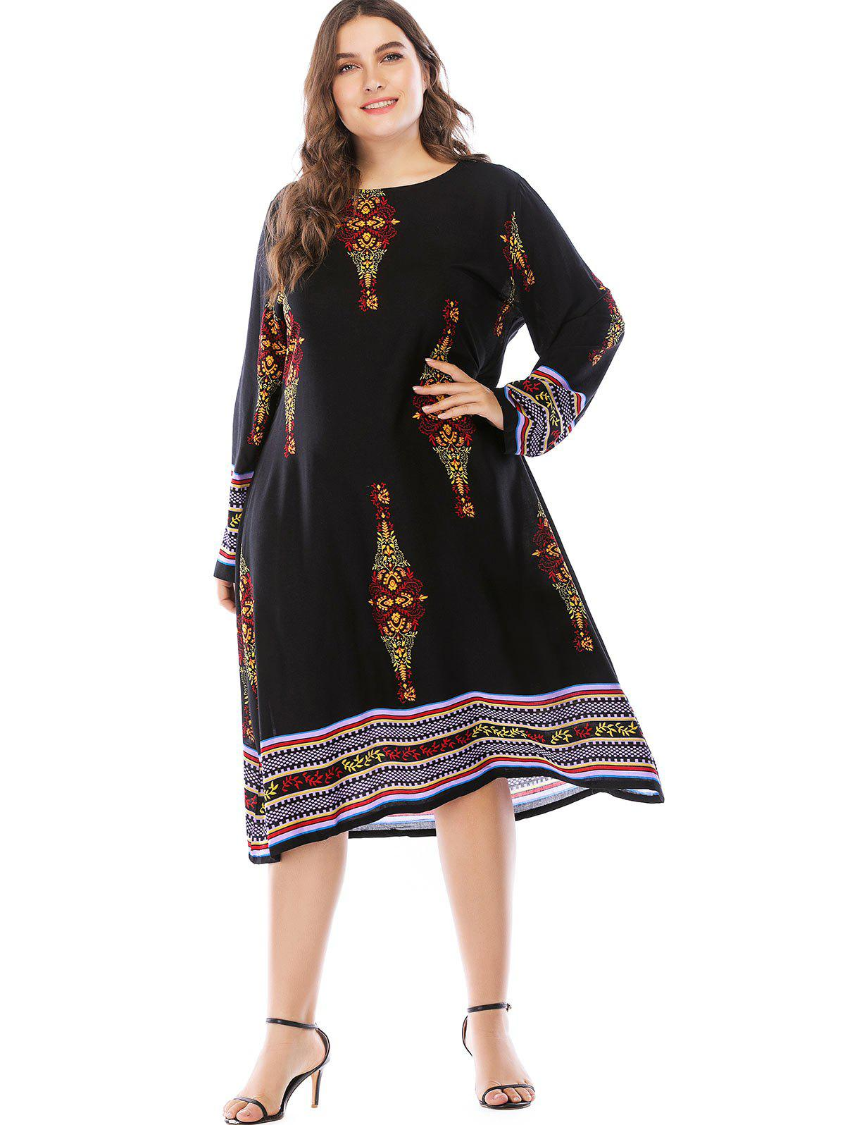 Unique Plus Size Ethnic Print Casual Dress