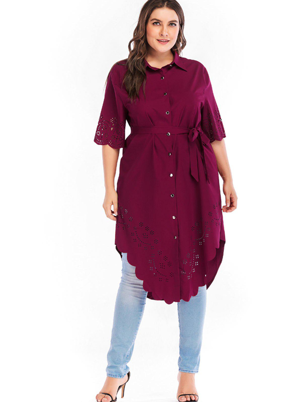 Outfits Plus Size Cutwork Long Blouse