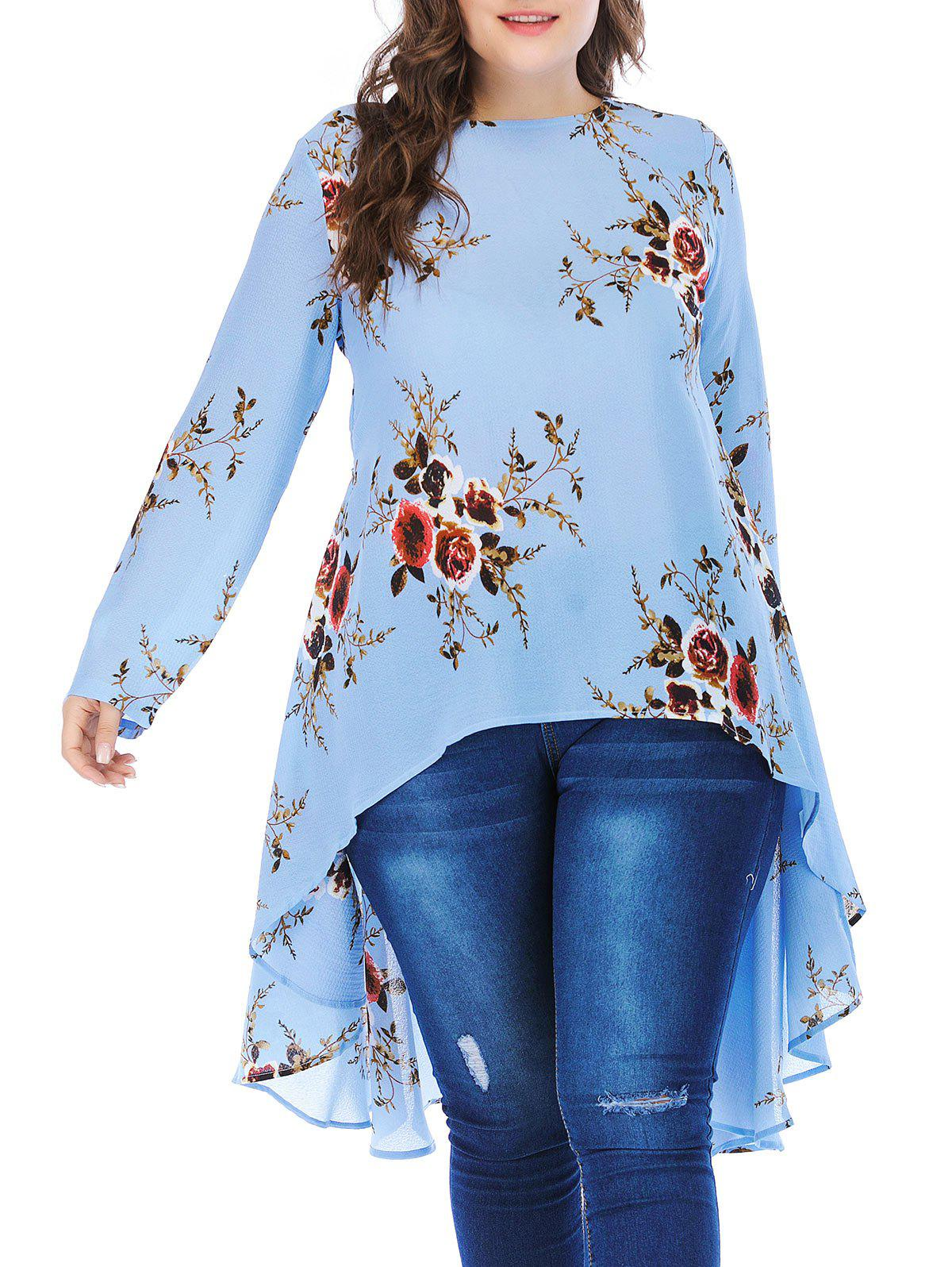 Online Plus Size Floral High Low Blouse