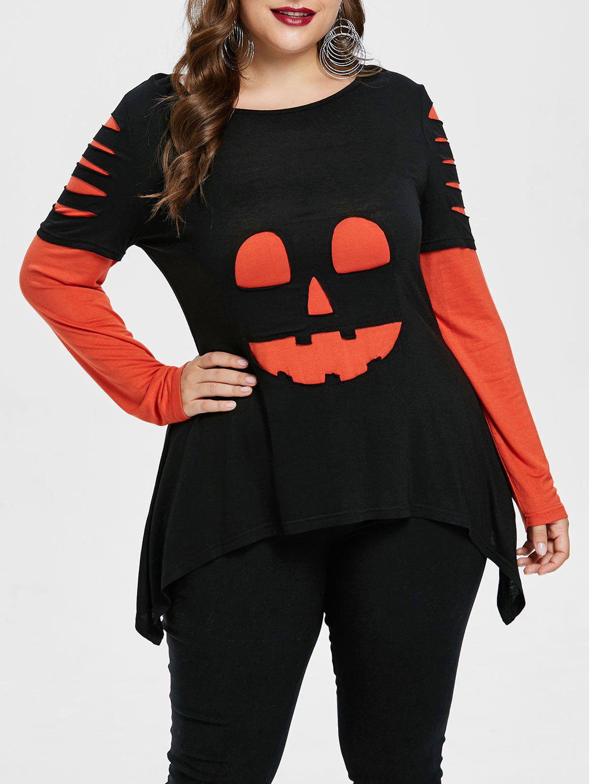 Outfits Plus Size Halloween Color Block Ripped T-shirt