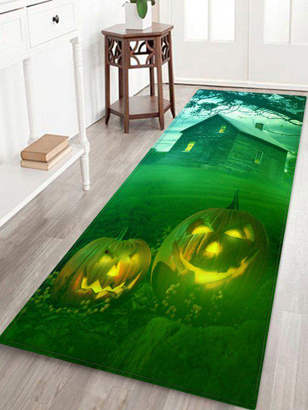 Chic Halloween Pumpkins House Pattern Water Absorption Area Rug