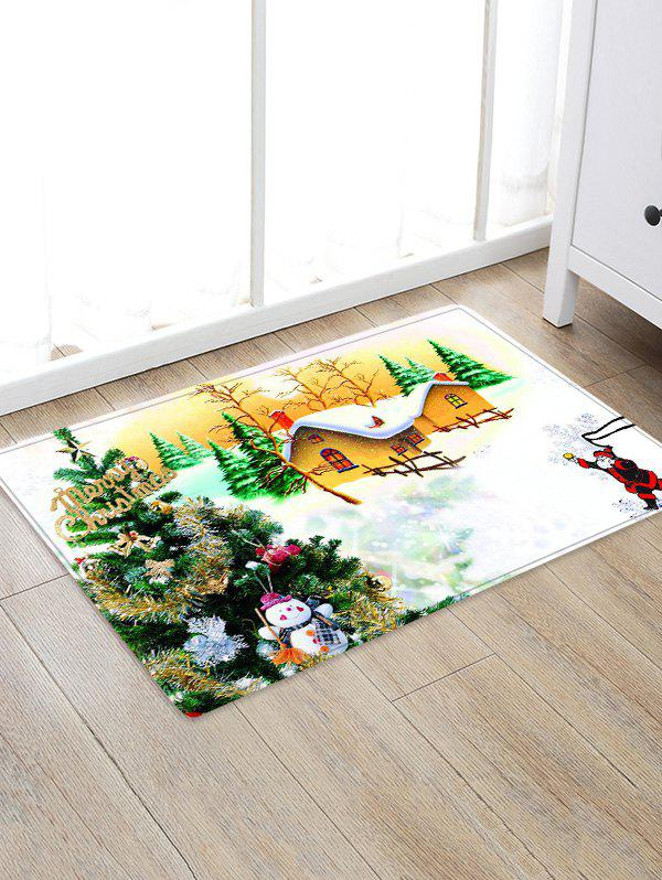 Outfits Christmas Tree House Pattern Water Absorption Area Rug