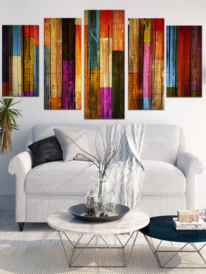 Trendy Unframed Colorful Wooden Split Canvas Paintings