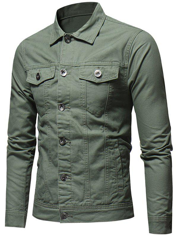 Trendy Button Placket Whole Colored Jacket