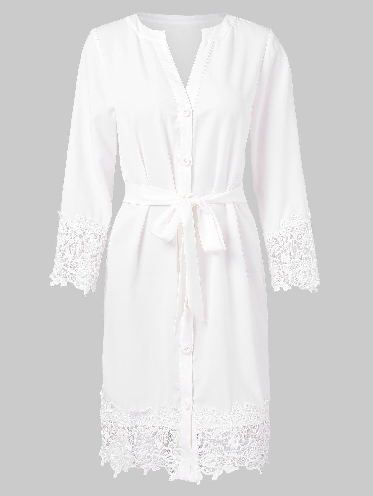 Shops Lace Trim Full Sleeve Button Up Dress