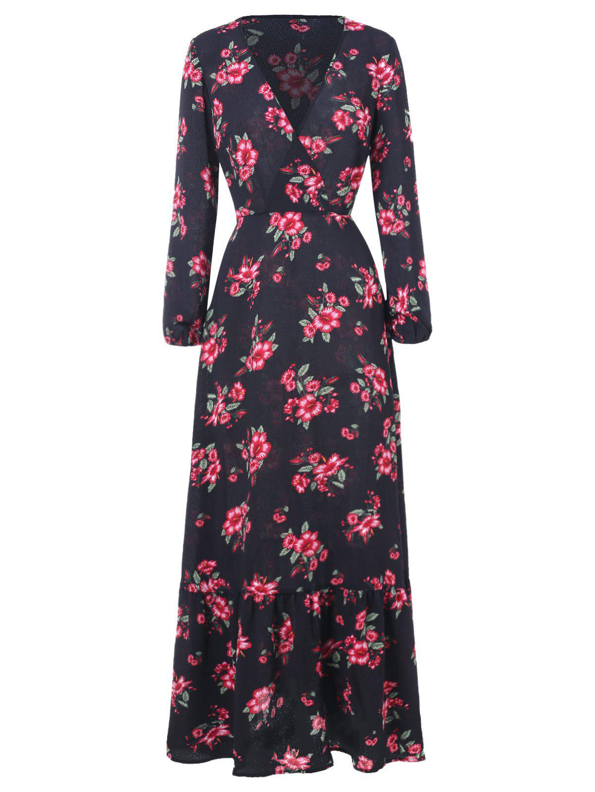 Affordable Floral Print Full Sleeve Maxi Surplice Dress