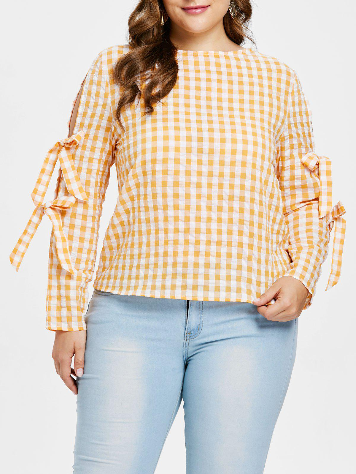 Latest Plus Size Tie Sleeve Plaid Blouse