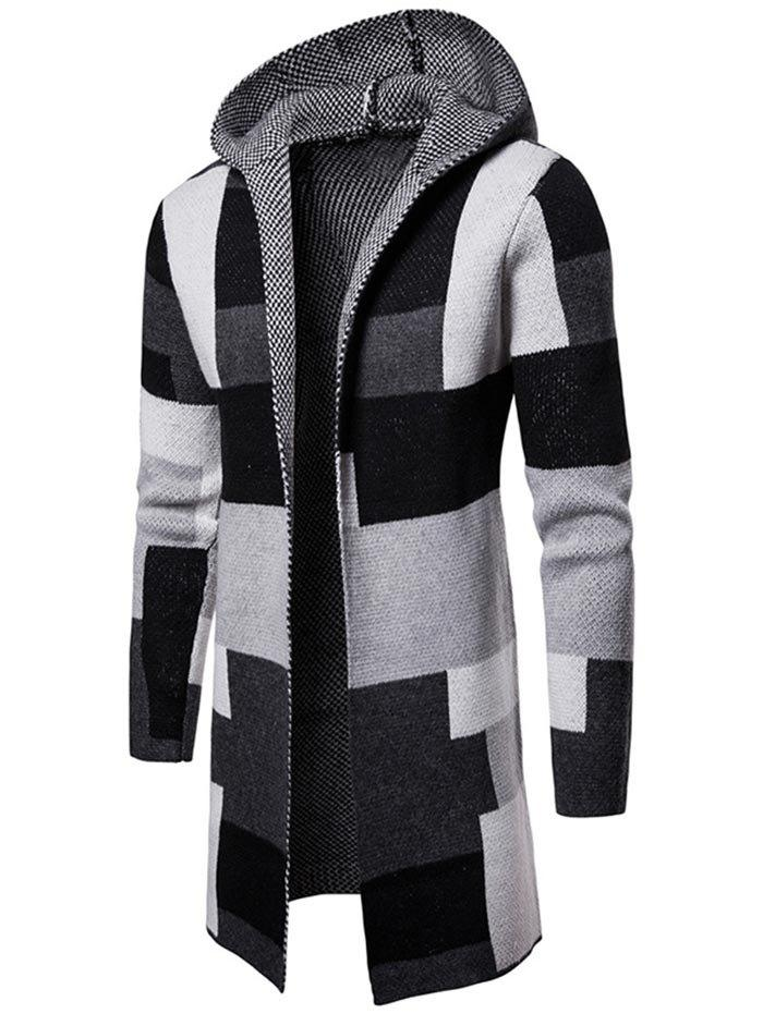 Sale Collarless Color Block Hooded Longline Cardigan