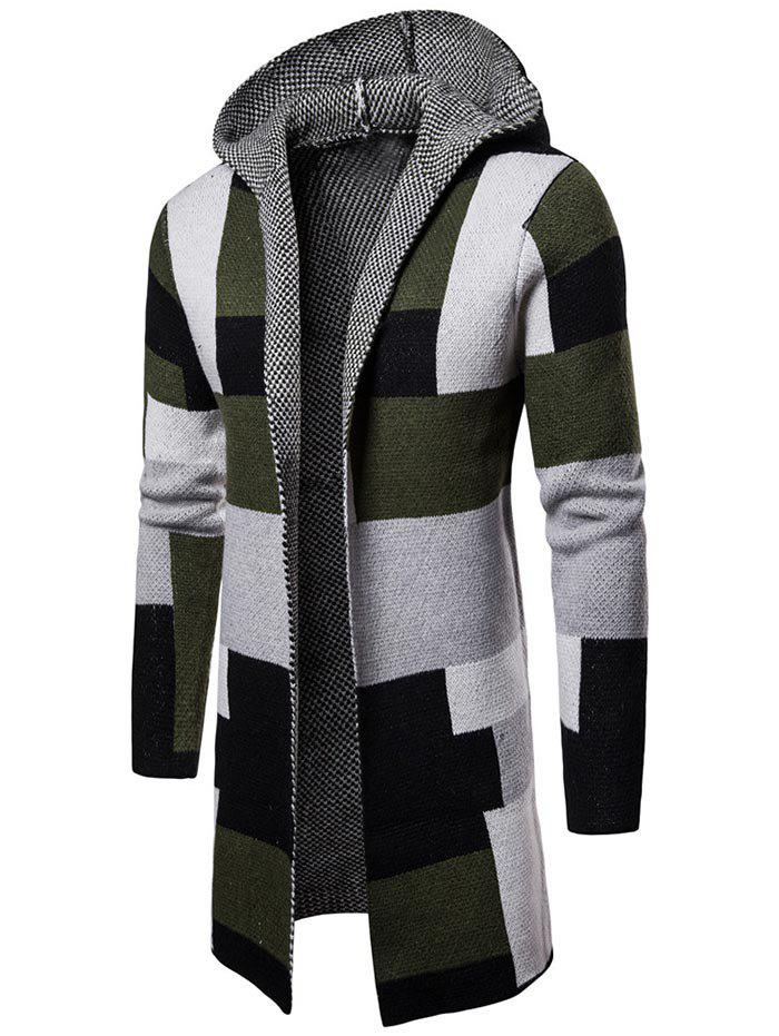 Trendy Collarless Color Block Hooded Longline Cardigan