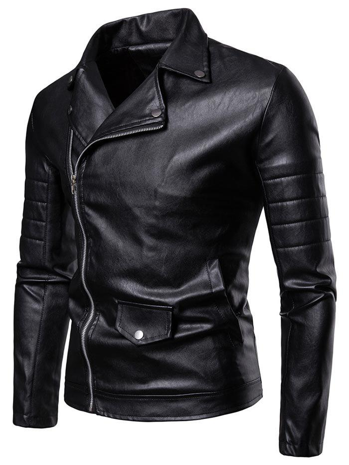Shops PU Leather Zip Up Turndown Collar Jacket