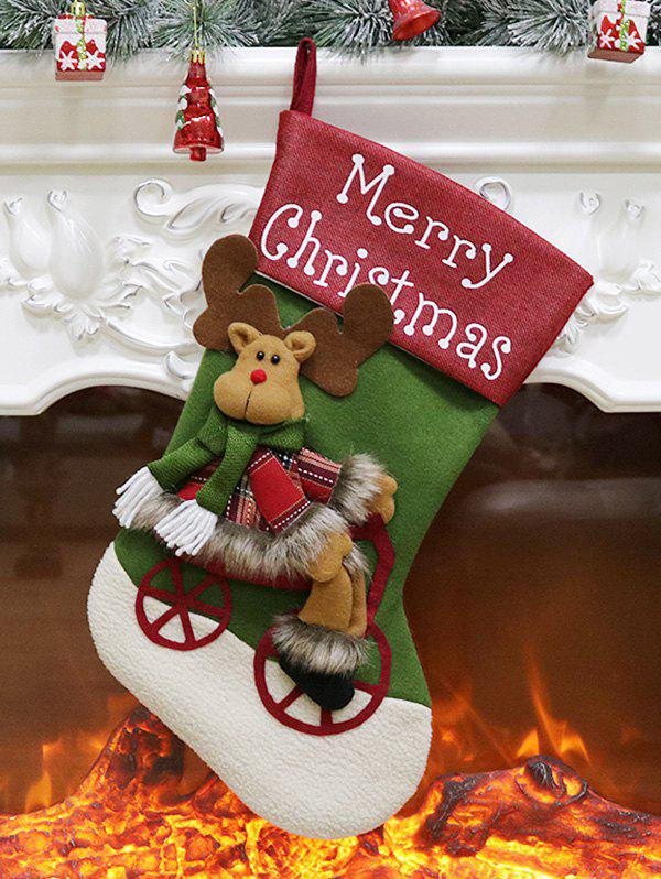 Trendy Merry Christmas Theme Elk Pattern Hanging Stocking Decoration