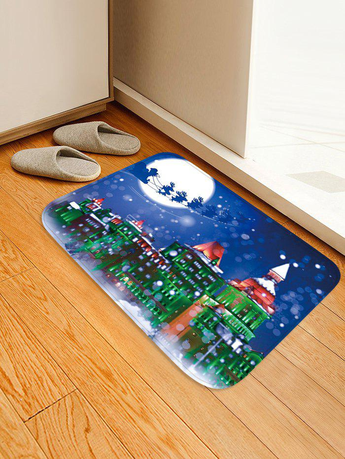 Outfits Christmas Night City Pattern Water Absorption Area Rug