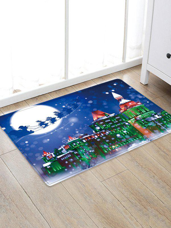 Chic Christmas Night City Pattern Water Absorption Area Rug