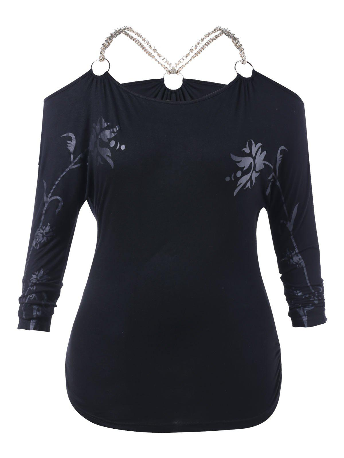 Best Halloween Plus Size Chain Embellished Floral T-shirt