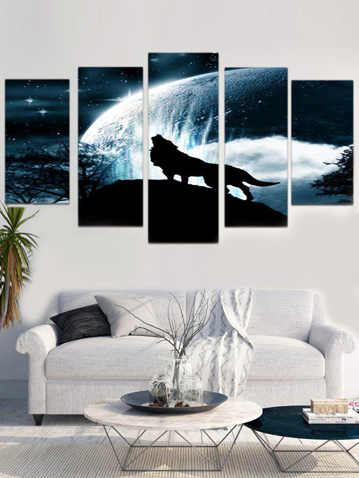 Fashion Unframed Star Wolf Printed Split Canvas Paintings