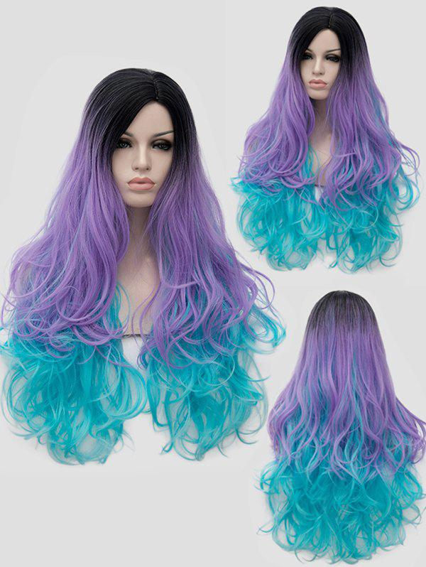 Discount Long Side Parting Colorful Wavy Party Synthetic Wig