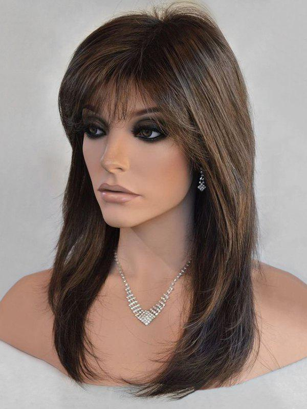 Discount Long Side Bang Colormix Straight Synthetic Wig