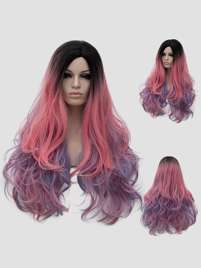 Outfits Long Side Parting Colorful Rainbow Wavy Party Synthetic Wig