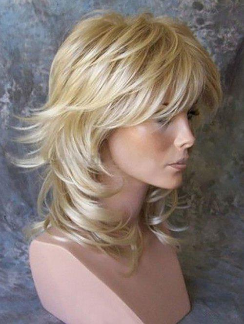 Affordable Medium Side Bang Layered Slightly Curly Synthetic Wig