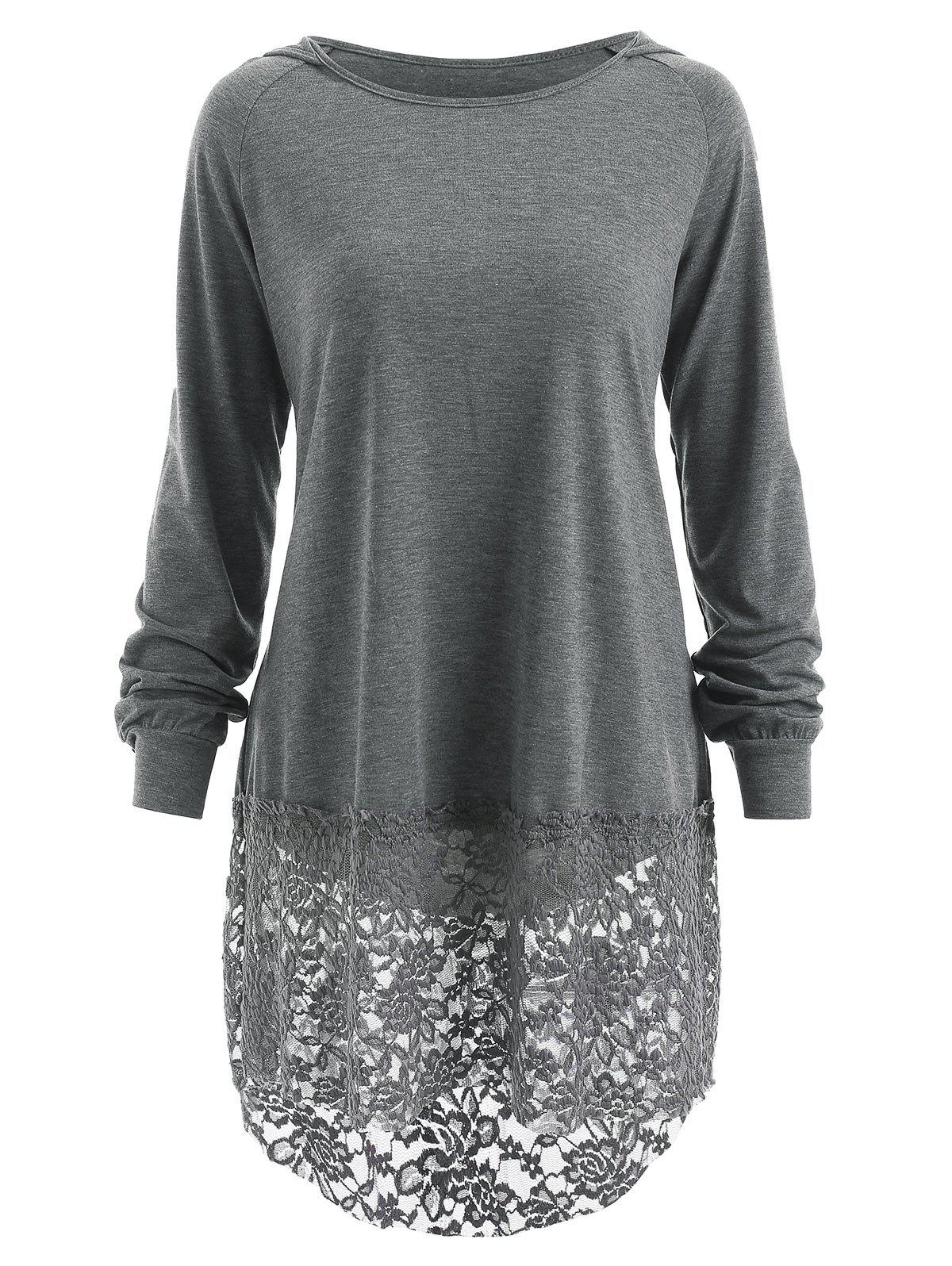 Chic Hooded Lace Panel T-shirt