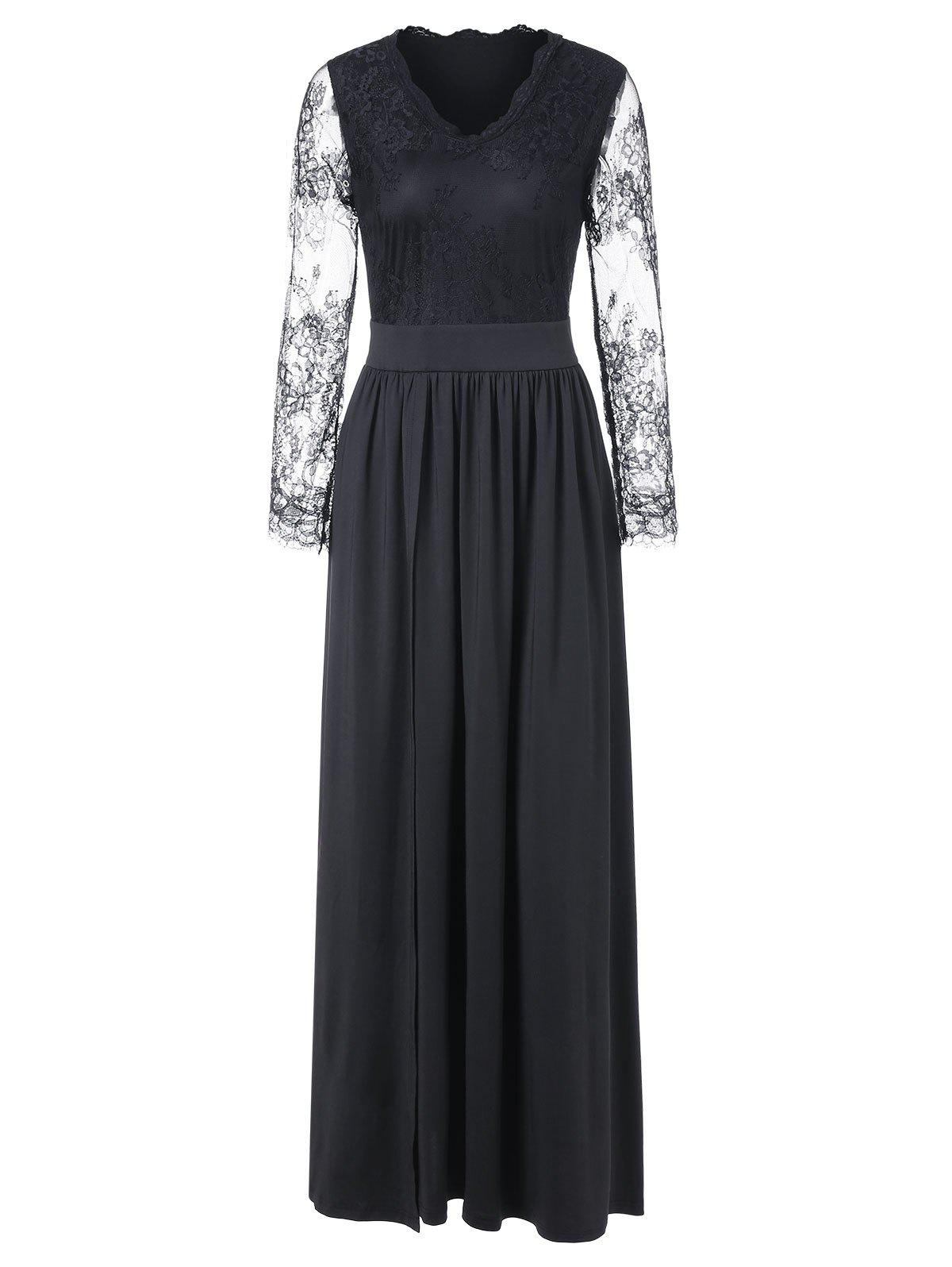 Discount Lace Sleeve Maxi Cocktail Dress