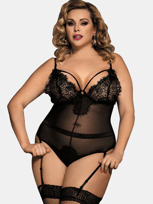 Fashion Plus Size Lace Panel See Through Mesh Teddy