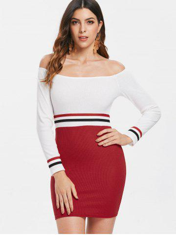 Full Sleeve Fitted Stripe Knit Dress