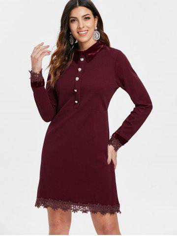 Full Sleeve Lace Trim Dress