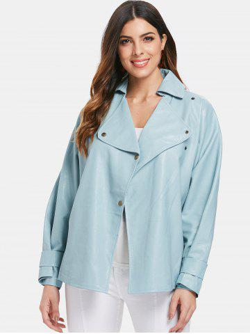 Faux Leather Belted Turndown Collar Jacket