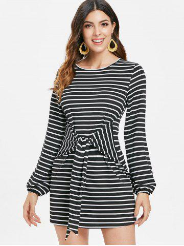 Full Sleeve Belted Stripe Dress