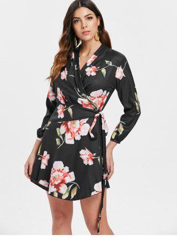 Floral Print Short Wrap Dress