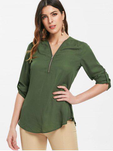 Half Zipper Full Sleeve Blouse