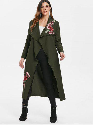 Floral Embroidery Maxi Wrap Coat