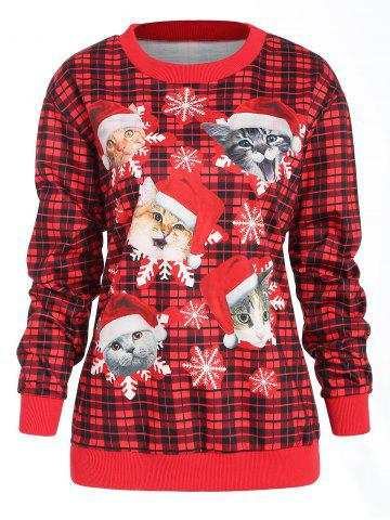Christmas Printed Plaid Sweatshirt