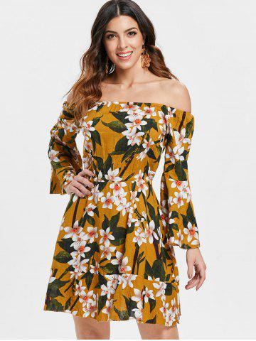 Flare Sleeve Bare Shoulder Floral Printed Dress