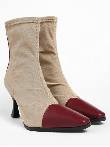 Pointed Toe Cap High Heel Ankle Boots - CHESTNUT RED - 39