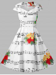Christmas Music Note and Bell Print Dress -